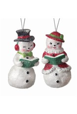 "4"" Mr. & Mrs. Retro Snowman Orn Ast"