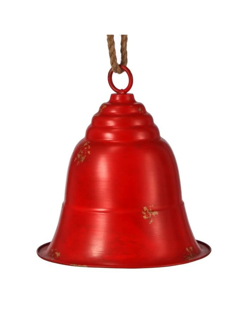 """14"""" Metal Antique Bell Orn Antique/Red"""