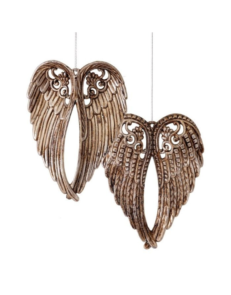 """6"""" Antique Angel Wings Orn Champagne"""