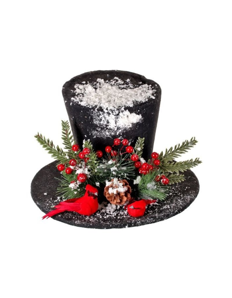 "12"" Frosted Deco Snowman Hat w/Cardinals Topper"