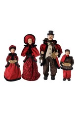 "26"" - 35"" Blk Fur/Red Fabric Caroler Family (Set of 4)"