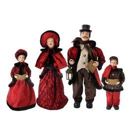 "*C* 26"" - 35"" Blk Fur/Red Fabric Caroler Family (Set of 4)"