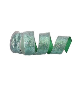 "2.5"" x 10y Beaded Edge Glitter Wired Ribbon - Aquamarine"