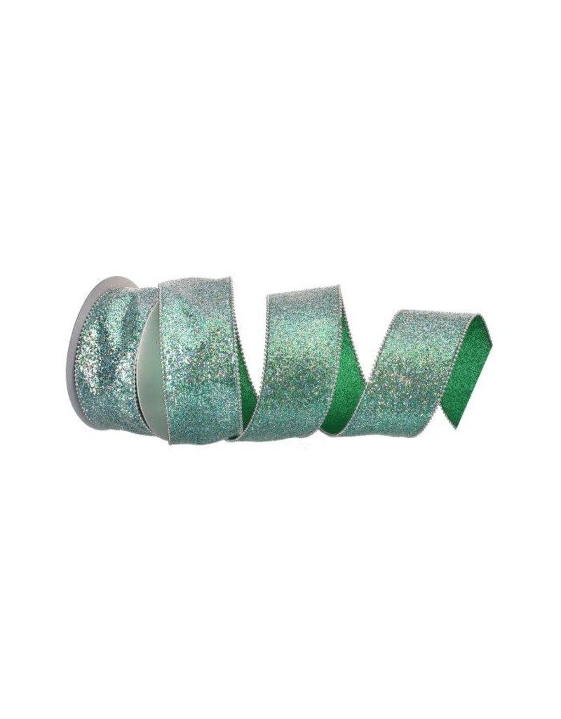 "2.5"" x 10y Beaded Edge Glitter Wired Ribbon - Aquamarine"