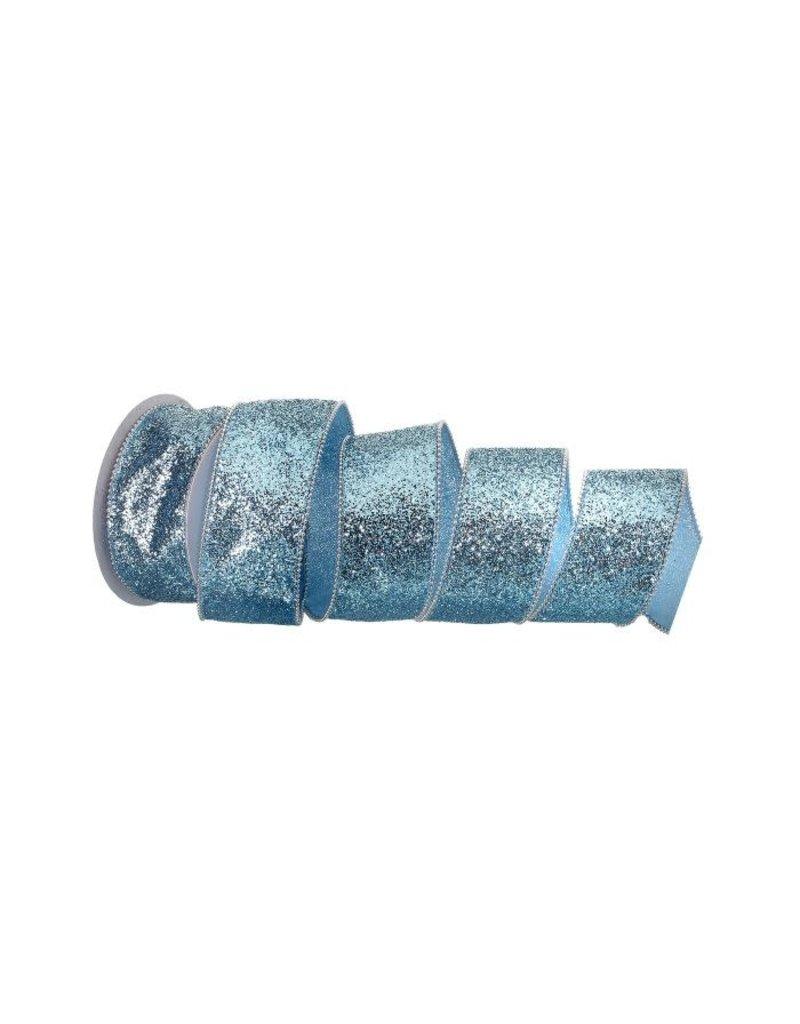 """2.5"""" x 10y Beaded Edge Ocean Wired Ribbon - Aqua Blue"""