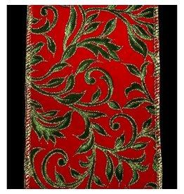 """4"""" x 10y Printed Leaf Vine on Velvet Ribbon"""