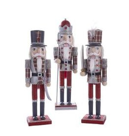 "15"" Wooden Red/Gray Plaid Nutcracker (3 asstd)"