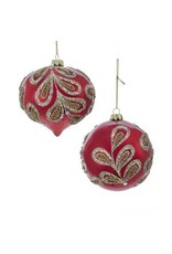 "4"" Ruby Red/Plat Glass Ball/Onion Orns"