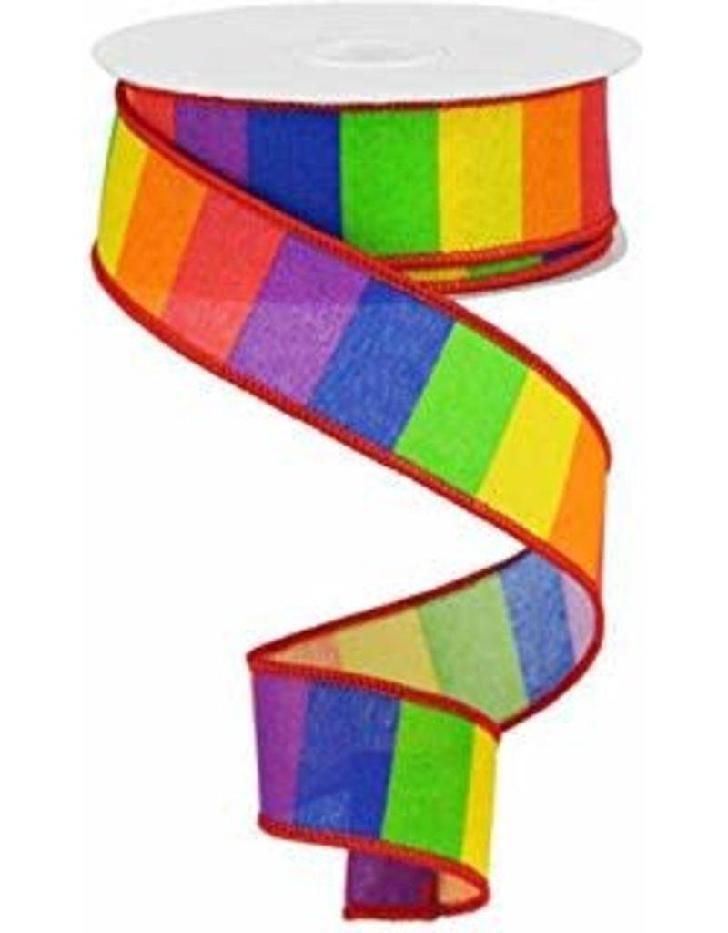 Rainbow Horizontal Stripe Pride Ribbon 10yrd