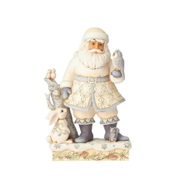 Jim Shore - White Woodland Santa with Owl