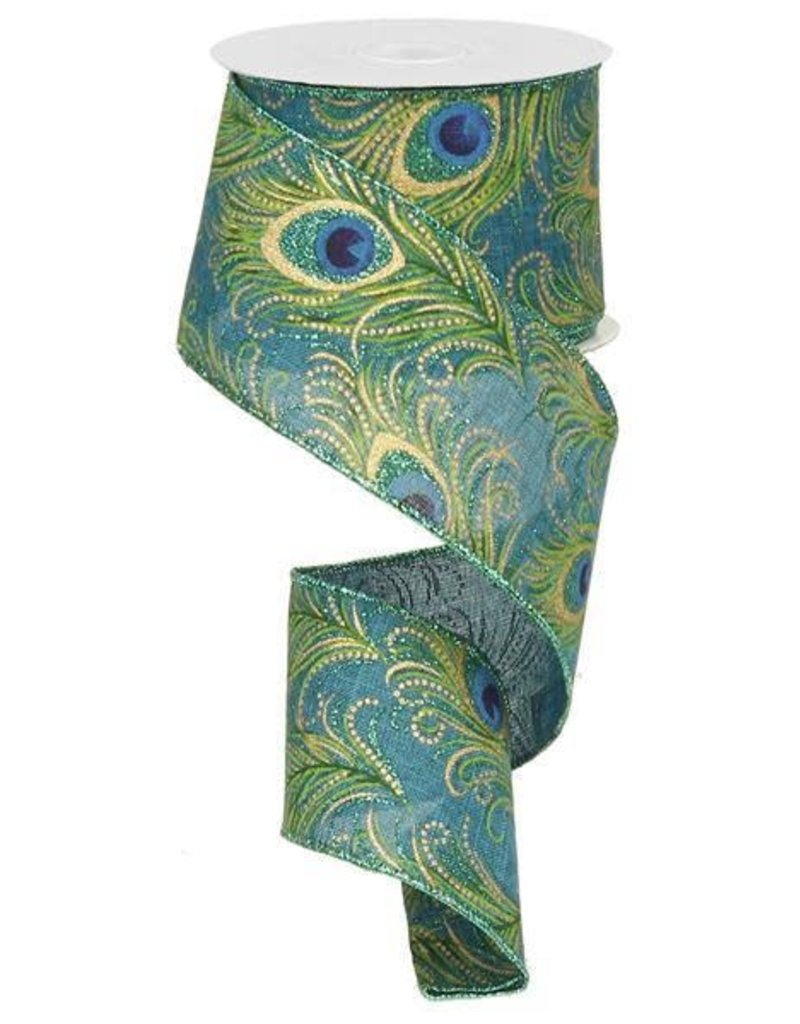 """2.5"""" GLITTERED PEACOCK FEATHERS RIBBON"""