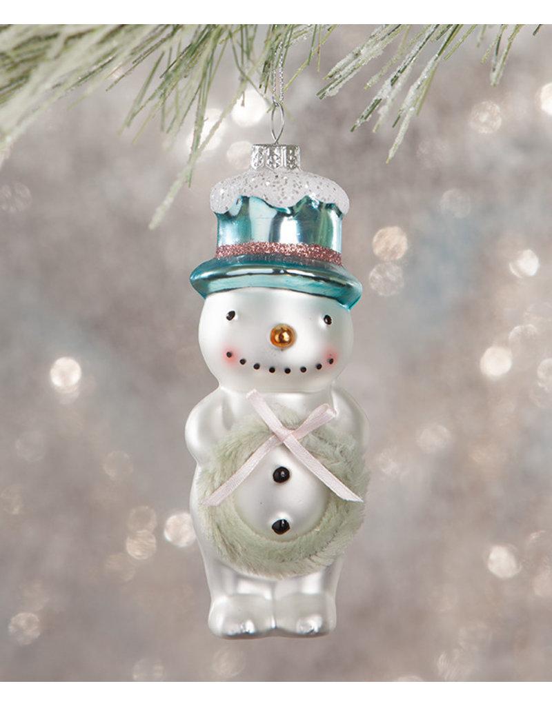 Flea Market Snowman with Wreath Ornament