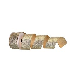 "2.5"" X 10y Glamor Glitter Wired Ribbon - Gold"