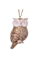 "3"" Resin Washed Wood Owl Ornament"