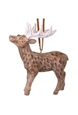 "4"" Resin Washed Wood Deer Ornament"