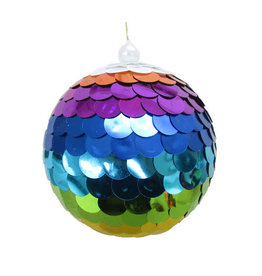Rainbow Sequin Ball Orn