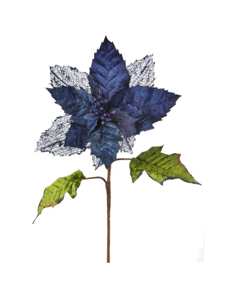 "25"" Regal Poinsettia Stem Dark Blue"