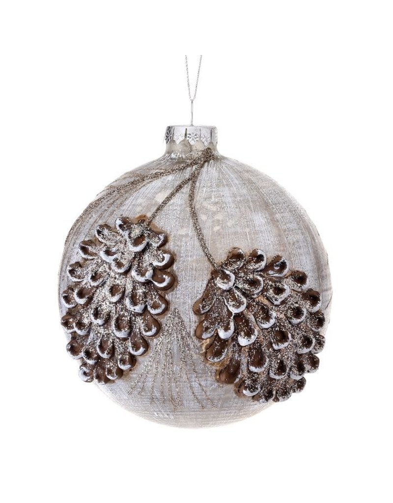 """5"""" Frost Glass Embossed Pinecone Ball Orn"""