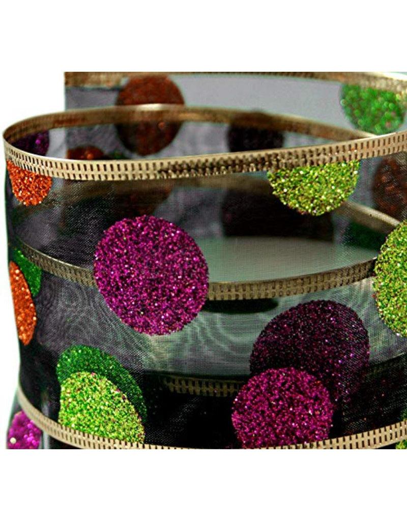 Glitter Halloween Polka Dots on Black Sheer Wired Ribbon #40-2.5in x 10 yards