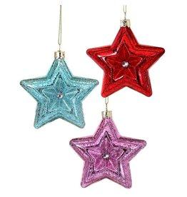 """3.5"""" Merc Glass Star Red/Blue/Pink (3 Asstd)"""