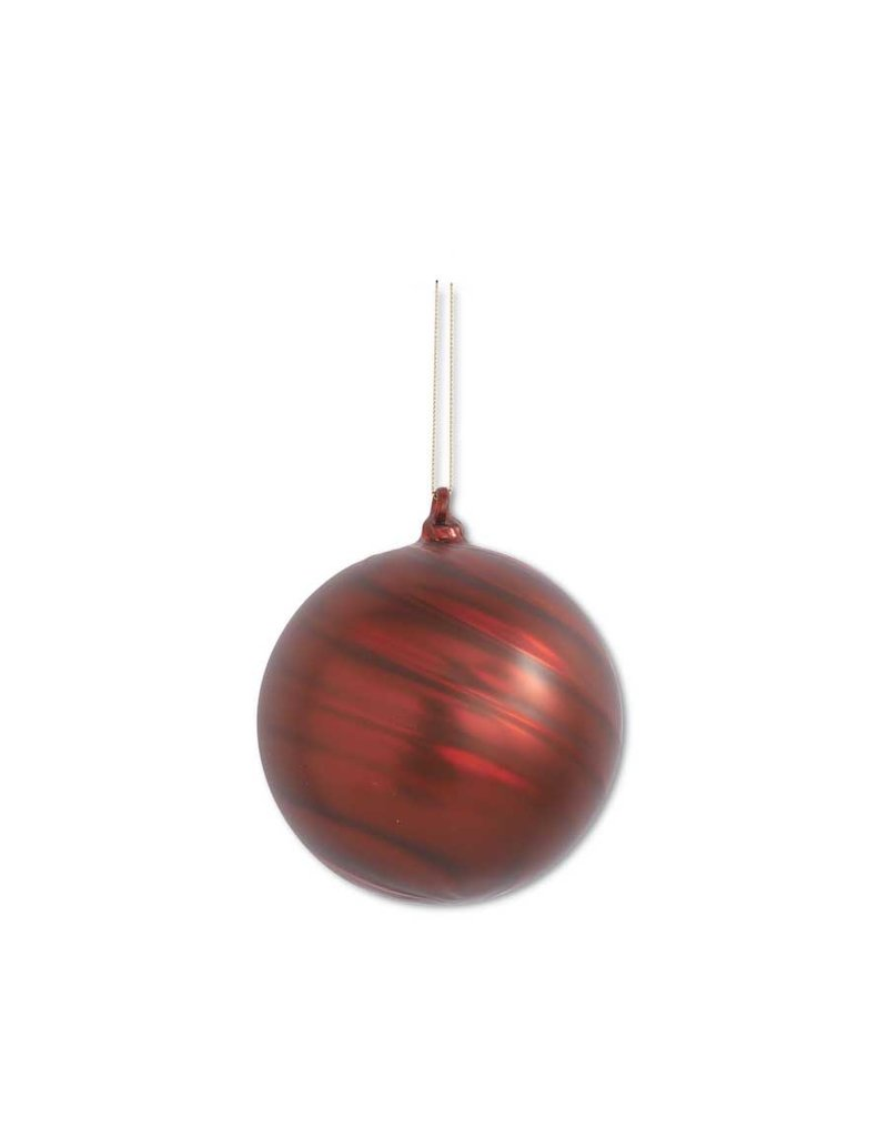 "4"" Matte Red Swirl Round Glass Orn"