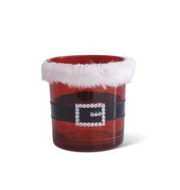 """3"""" Red Glass Santa Belt Votive w/ Fur"""