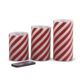 Set of 3 Red and White Stripe LED Flameless Wax Pillar