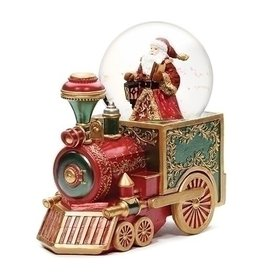 "Music 7.5"" Santa Red Train 100mm Glitter Dome"