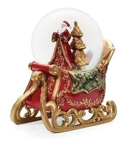 "Musical 6.5"" Santa Sleigh 100mm Glitter Dome"