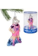 Lederhosen Unicorn Glass Ornament
