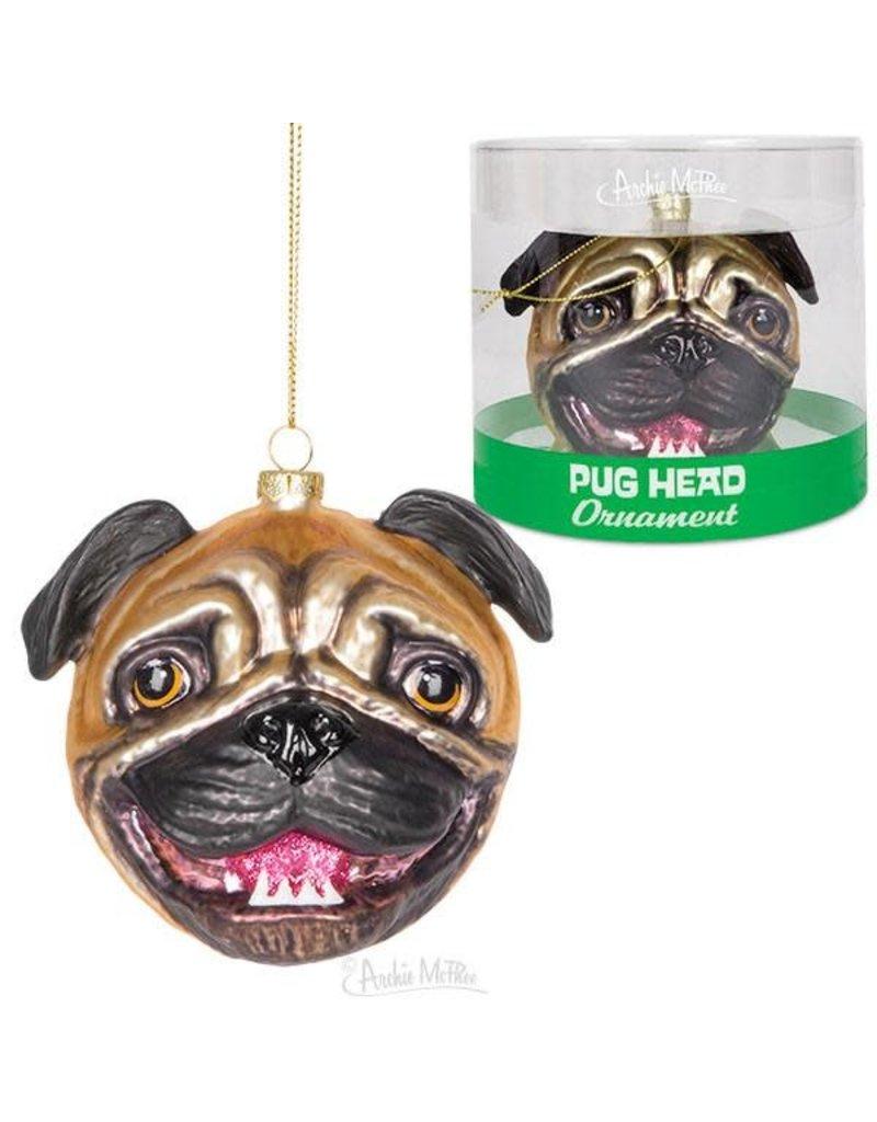 Pug Head Glass Ornament