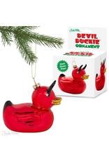 Devil Duckie Glass Ornament