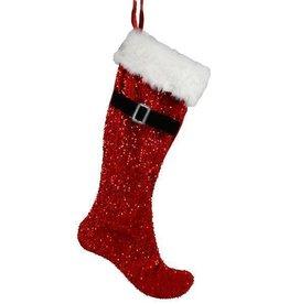 "30""L Sequin Santa Belt Stocking red/black/white"