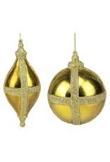 """2 asst 6""""-9"""" Ball/Finial Orn Dark Gold"""