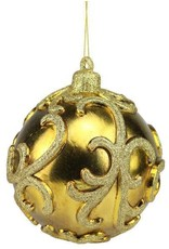 "6"" Ball w/ Raised Swirl Pattern Orn Dark Gold"