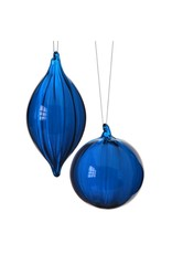 "4 - 5.5"" Clear Glass Ball/Finial Orn Midnight Blue"
