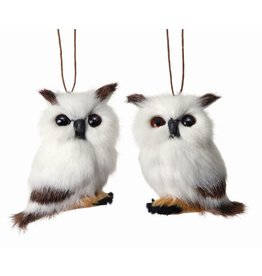 "3"" Fur Owl Orn White/Brown"
