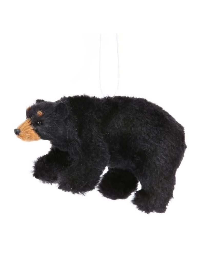 "5"" Furry Black Bear Orn Black"