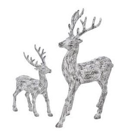 "9-13"" Bark Standing Deer Set (2)"