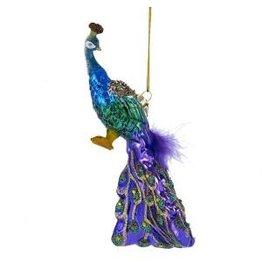 "7"" Noble Gems Glass Peacock Orn"
