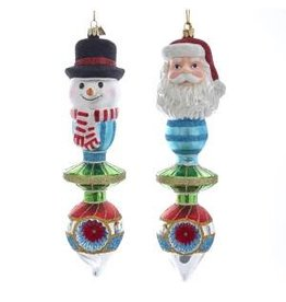 "8.75"" Noble Gem Santa/Snowman Finial"