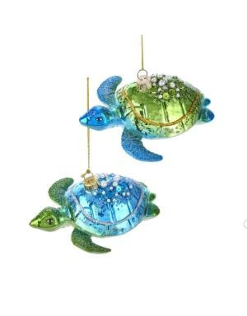 "4.75"" Glass Blue/Green Sea Turtle"