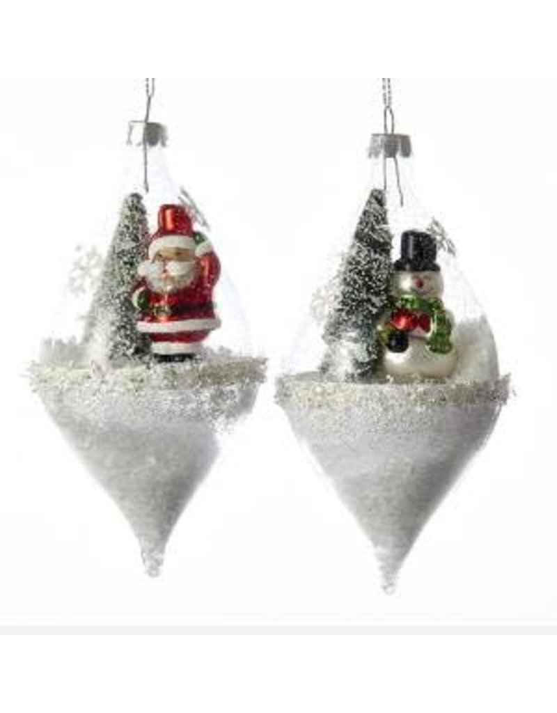 "5.75"" Santa / Snowman Glass Globe Orn"