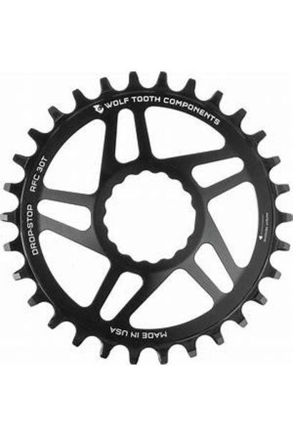 Wolf Tooth Direct Mount Chainring - 30t, RaceFace/Easton CINCH Direct Mount, Drop-Stop, For Boost Cranks, 3mm Offset, Black