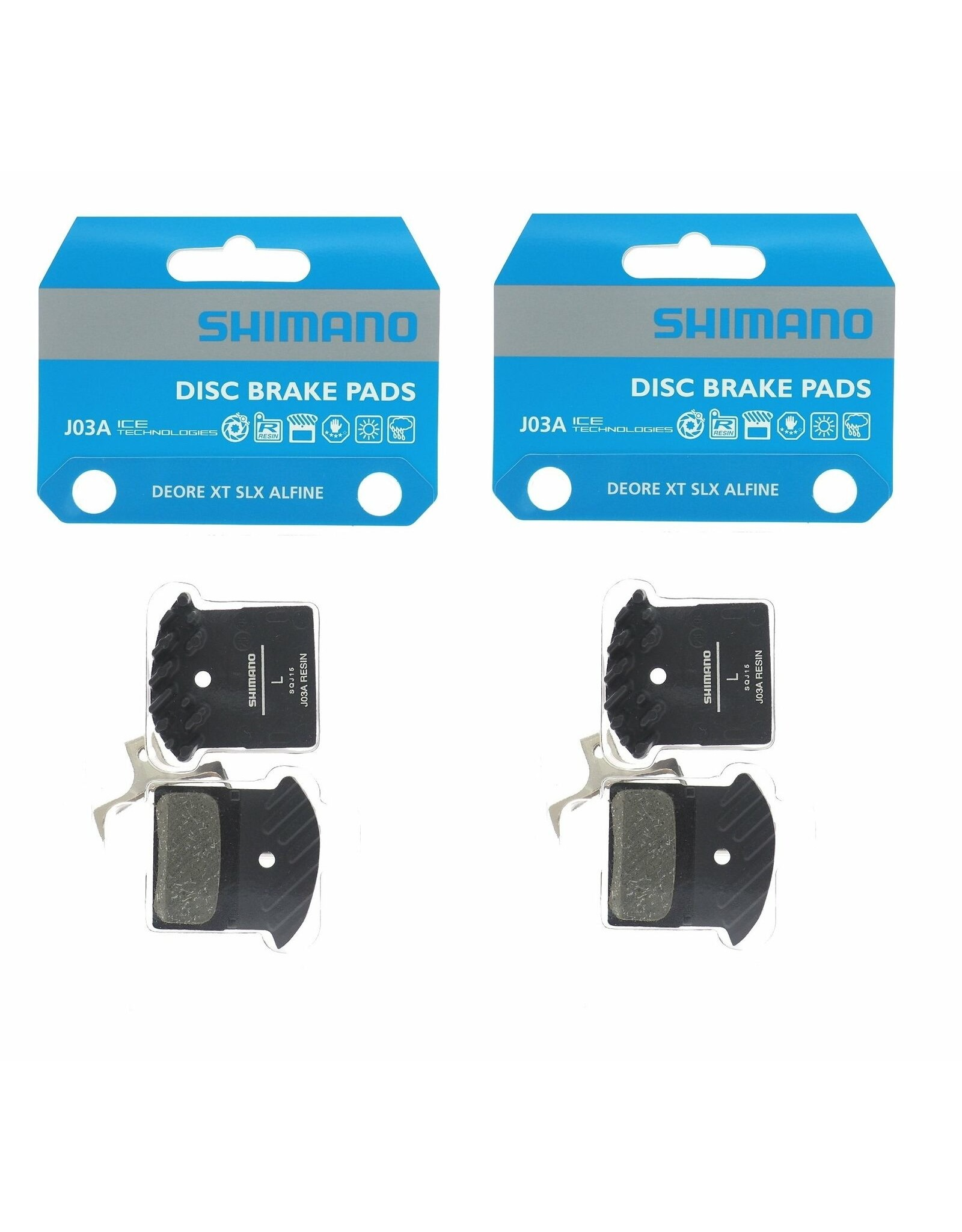 Shimano Shimano J03A Resin Disc Brake Pad - Resin, Finned, Fits XTR BR-M9000, XT BR-M8100/BR-M8000, SLX BR-M7100, Deore BR-M6000, and BR-RS785