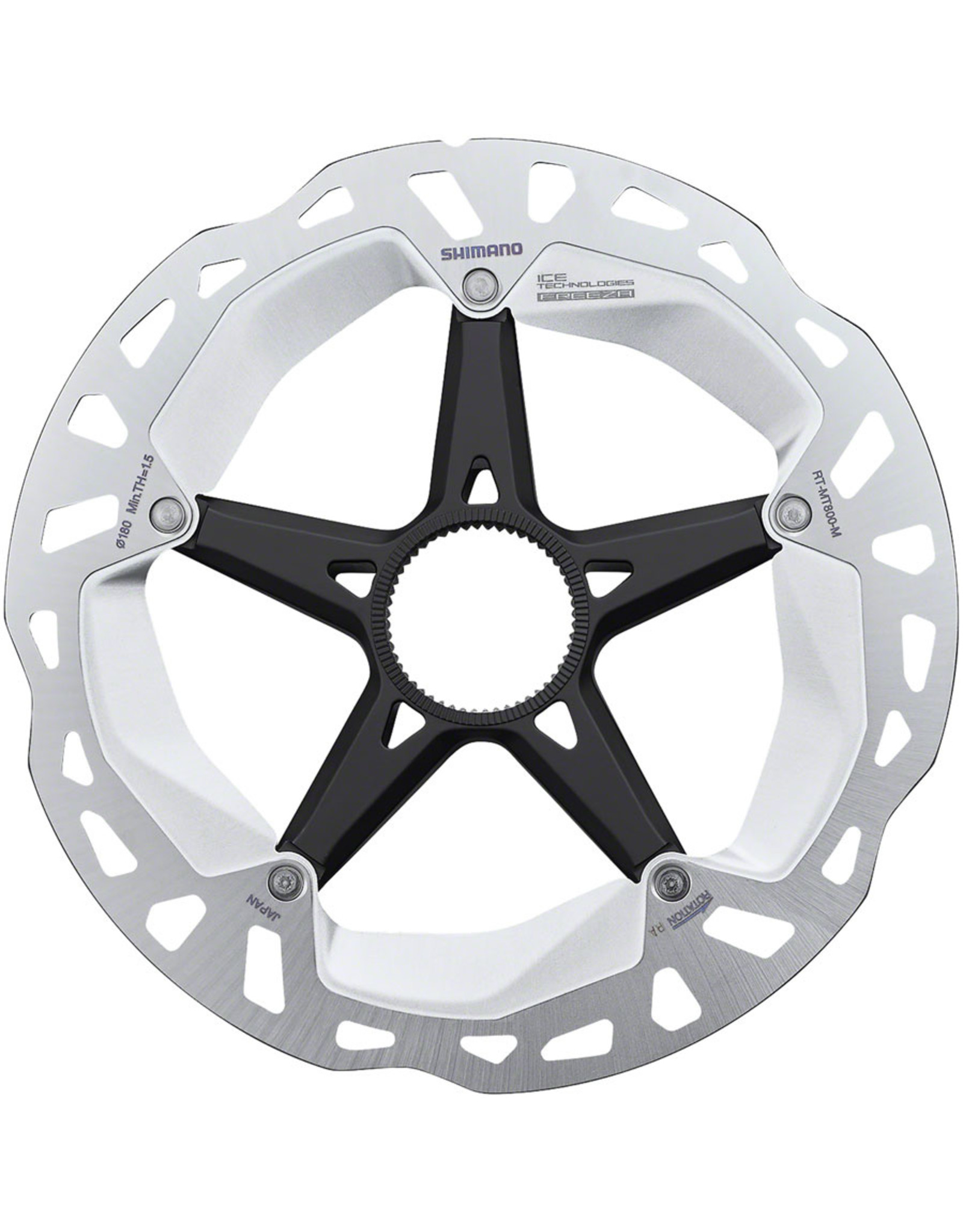 Shimano Shimano Deore XT RT-MT800-M Disc Brake Rotor with External Lockring - 180mm, Center Lock, Silver/Black