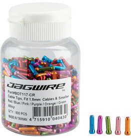 Jagwire Jagwire 1.8mm Cable End Crimps Combo Bottle/500, Red, Blue, Pink, Purple, Orange, Green