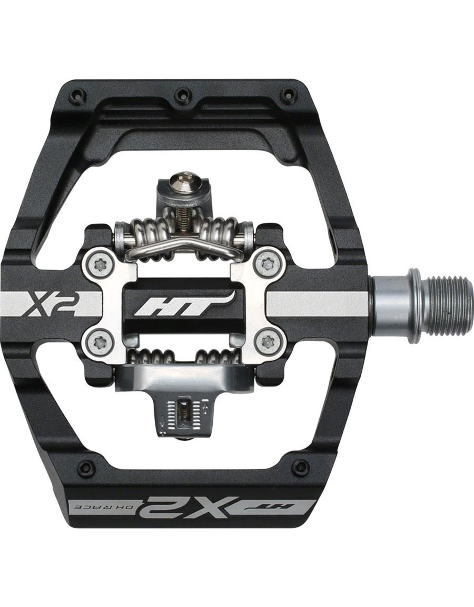 """HT Components HT X2 DH Race Pedals - Dual Sided Clipless with Platform, Aluminum, 9/16"""", Black"""