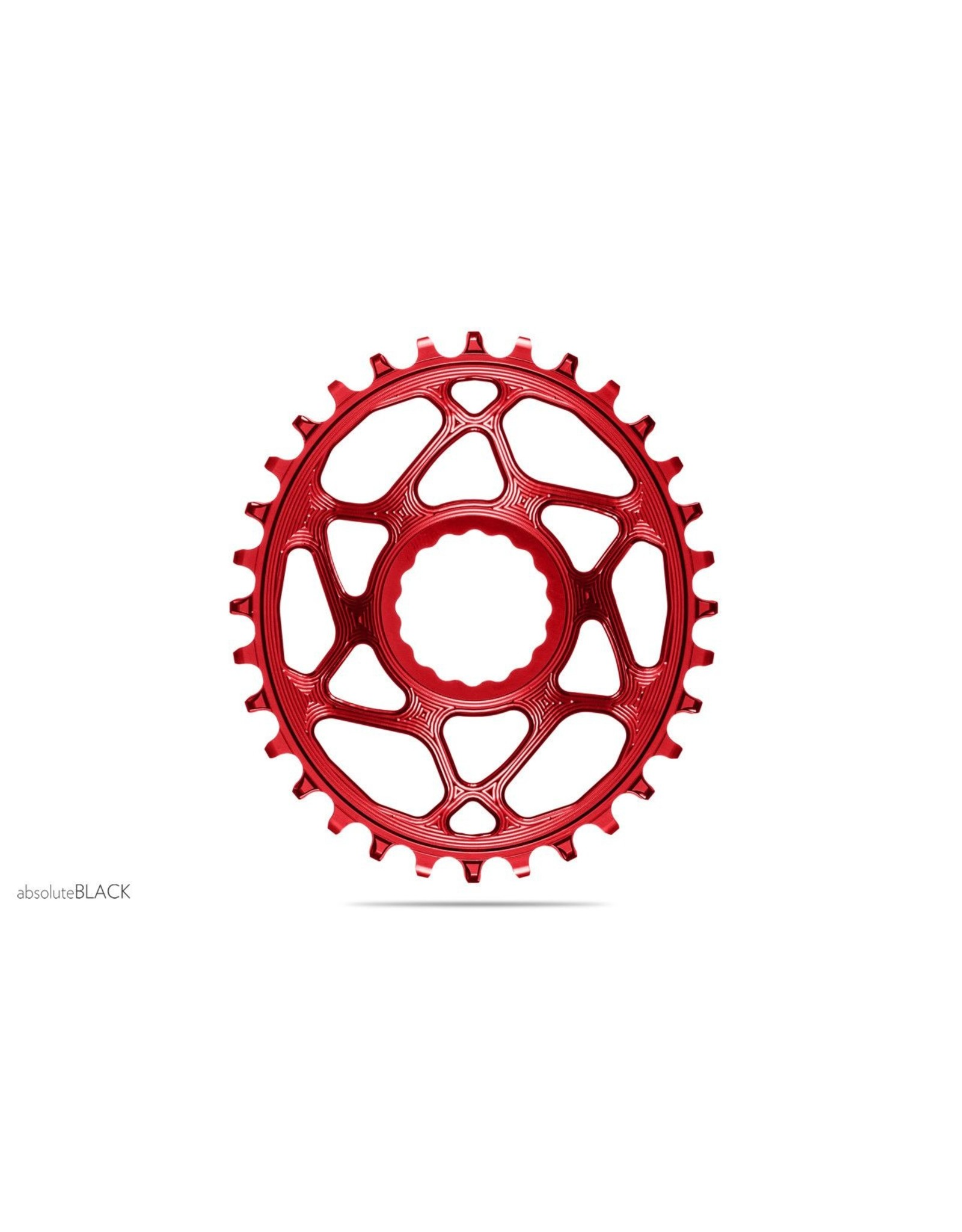 Absolute Black Absolute Black Spiderless Cinch DM Oval Chainring, 34T - Red