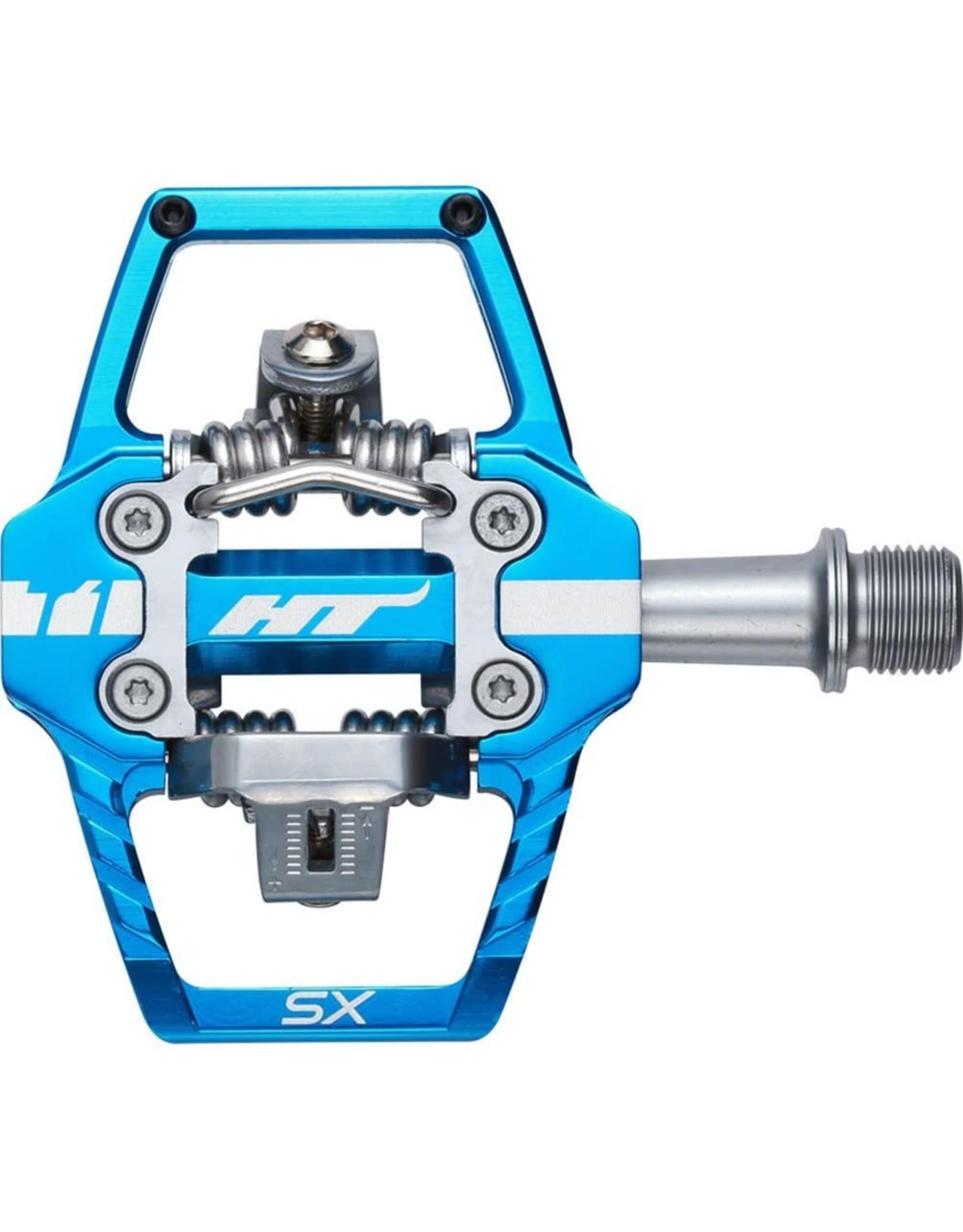 "HT Components HT T1-SX BMX-SX Pedals - Dual Sided Clipless with Platform, Aluminum, 9/16"", Marine Blue"